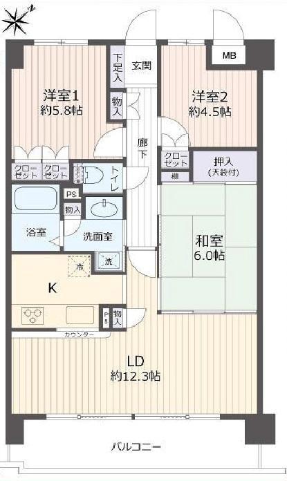 3LDK 専有面積 / 71.41㎡ : バルコニー面積 / 10.27㎡ 3階部分