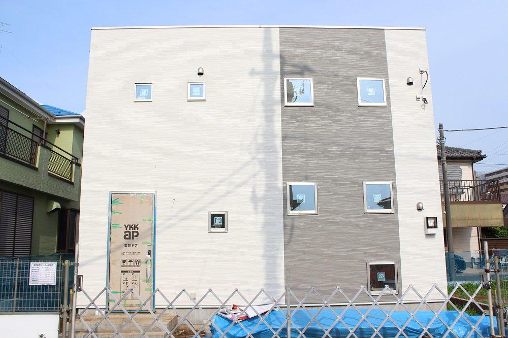 現地 F区画・建築中モデルハウス写真(2020年6月撮影)